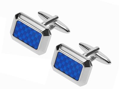 262-19R Blue Epoxy Men Cufflinks