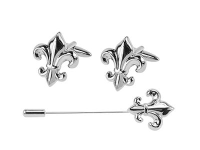 664-9 Silver-Tone Fleur-de-lis Lapel Pin Cufflink