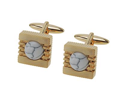 661-2G1 Stone Gem 14K Gold Cufflinks