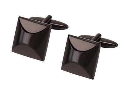 667-15CHO2 Special Shape Dark Brown Plated Cufflink