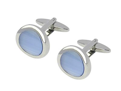 TN-1101R Light Blue Cat Eye Stone Female Cufflinks