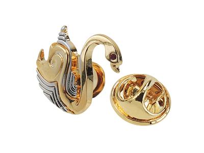 TP58-6GR/Z Brass Silver Gold Swan Lapel Pin
