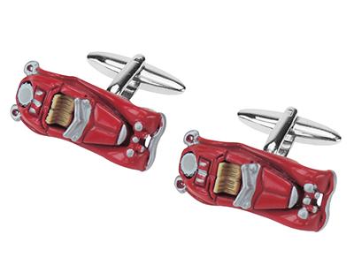 642-12R Transport Red Racing Car Cufflinks