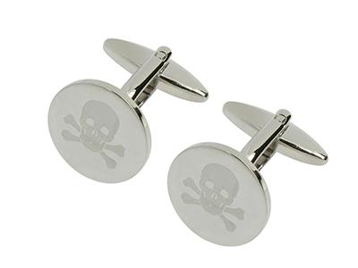 1028-12R2 Brass Skull Laser Engraved Cufflinks