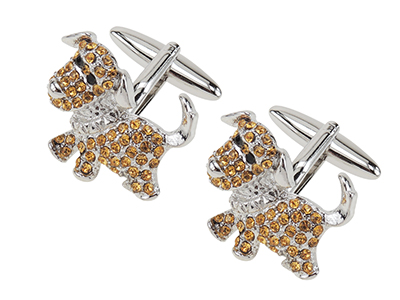 649-2R Silver Custom Stone Animal Dog Cufflinks