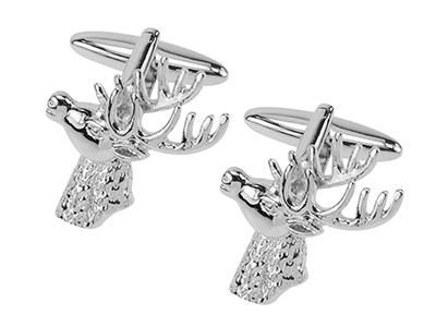 1861-7R Silver Stag Deer Head Animal Cufflinks