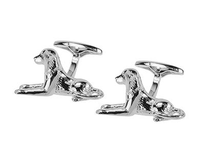 206-12R Silver Animal Pet Dog Cufflinks
