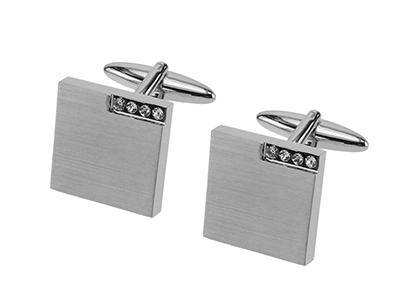 644-12R2 Classic Square Crystal Cufflinks