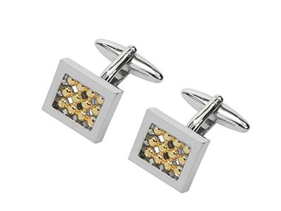 295-16RG Silver Gold Tone Cufflinks
