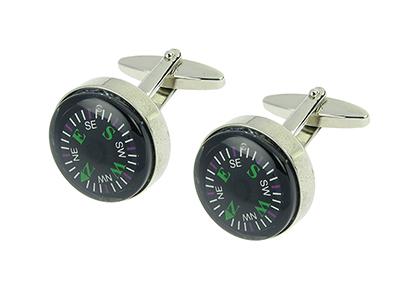 209-6R Functional Rhodium Compass Cufflinks