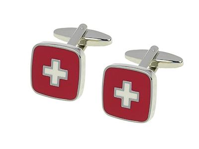 349-12R Square Red Popular Brass Cufflinks
