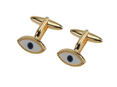 644-24G Novelty Blue Eyes Gold Cufflinks