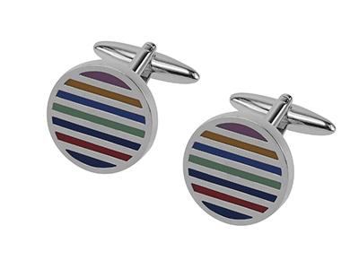 204-23R Colorful Stripes Round Cufflinks