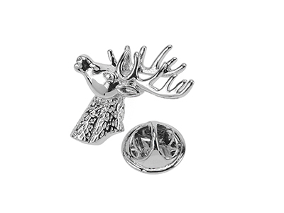 TP1-23R Stag Head Butterfly Clutch Metal Lapel Pin