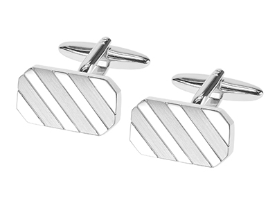 674-20R2 Brush Silver with Concave Stripes Cufflinks