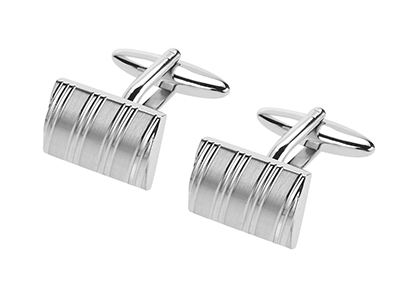 638-20R2 Mens Brush Silver with Shiny Stripes Cufflinks