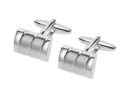 638-22R2 Curved Shiny and Brush Silver Brass Cufflinks