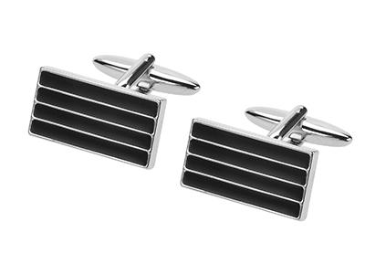 285-25R Black Enamel Stripes Cufflinks for Men
