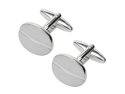 111-4R2 Shiny Brush Silver Oval Cufflinks