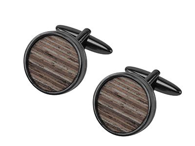 651-13GM Round Wooden Cufflinks