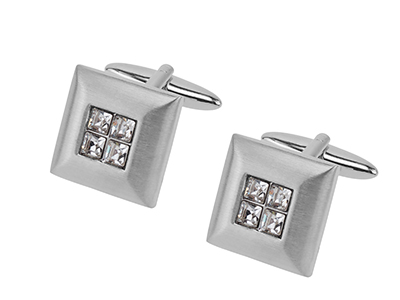 657-2R1 Gentleman Square Crystal Cufflinks