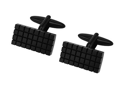660-13E1 Rectangle Black Grid Cufflinks