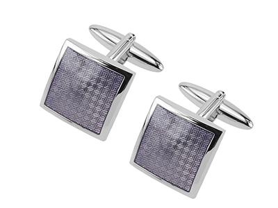 643-16R Purple Textured Frame Cufflinks