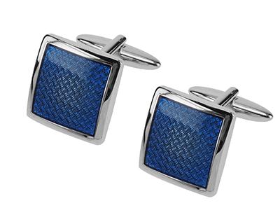 667-11R Silver Blue Enamel Cufflinks