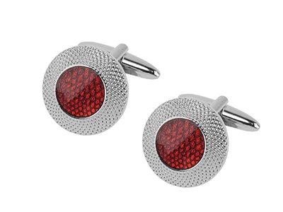 652-8R Double Circle Red Cufflinks