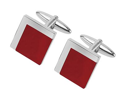 633-19R Square Red Agate Cufflinks