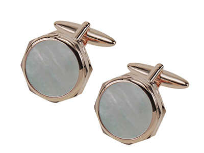 663-19Y Rose Gold Mother Of Pearl Cufflinks