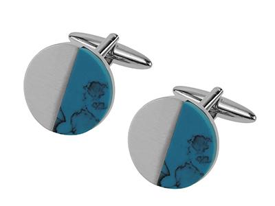 653-16R1 Brush Silver Turquoise Cufflinks