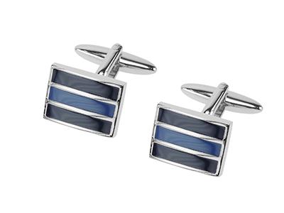 657-3R Shiny Silver Blue Tone Cufflinks