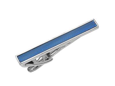 TN-3121R Silver Enamel Tie Clip