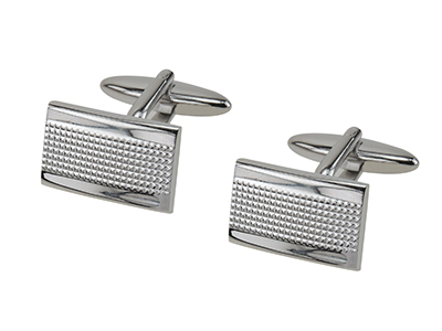 161-24R Sterling Silver Textured Rectangle Cufflinks