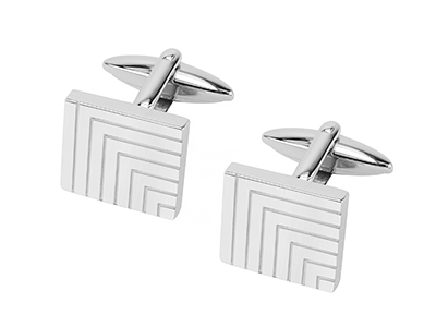 R7-COM-05 Polished Stainless Steel Engraved Line Cufflinks