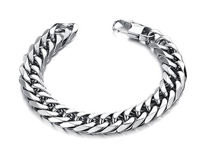 SSB0129R Stainless Steel Cuban Chain Bracelet