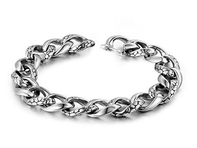 SSB0138R Antique Snake Pattern Stainless Steel Bracelet