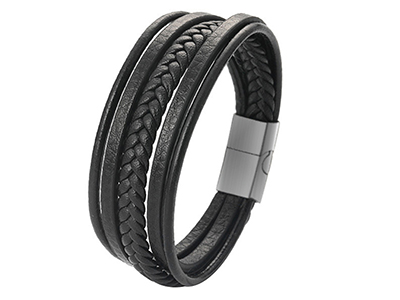 SSB0140R1 Black Braided Leather Multi Layer Magnetic Clasp Stain