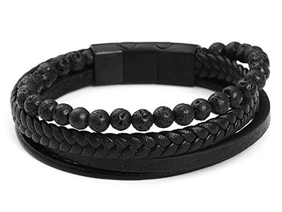 SSB0143BK1 Lava Rock Stone Black Braided Leather Stainless Steel