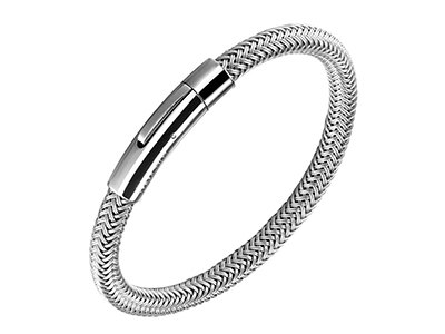 SSB0144R-1 Stainless Steel Braided Magnetic Clasp Bracelet