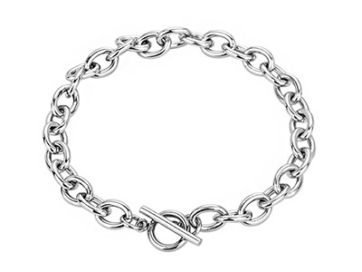 SSB0145R Cable Link Chain with Toggle Clasp Bracelet