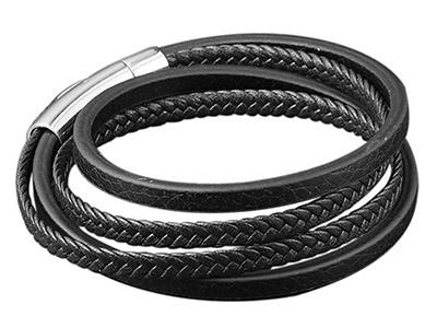 SSB0147R Multi Layer Black Braided Leather Bracelet