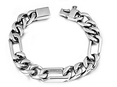 SSB0146R Stainless Steel Figaro Link Chain Bracelet