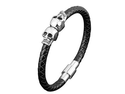 SSB0148R Skull Black Braided Leather Stainless Steel Bracelet