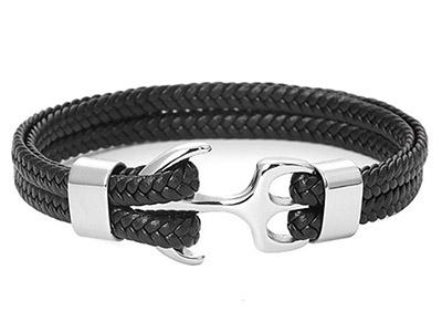 SSB0149R Anchor Black Braided Leather Bracelet