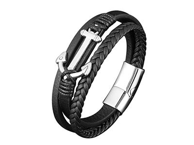 SSB0152R Black Braided Leather Anchor Bracelet