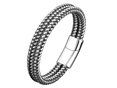 SSB0153RBK Two Tone Braided Double Layer Bracelet