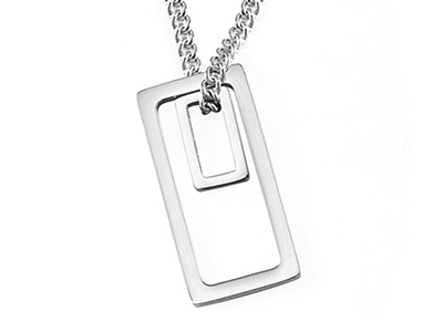 SSN0102R Double Rectangle Stainless Steel Necklace