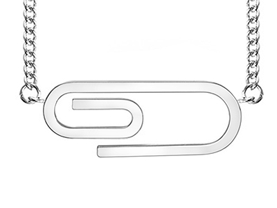 SSN0104R Paper Clip Stainless Steel Necklace